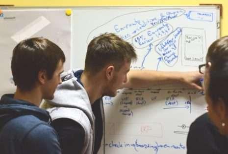 AltexSoft's agile development team near the whiteboard