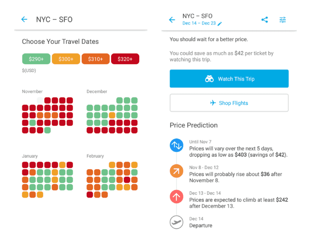 Hopper fare forecast app