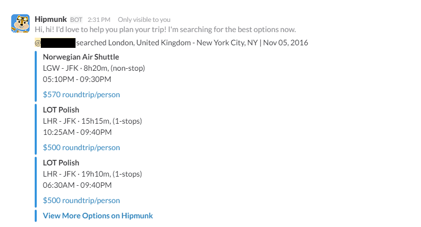 Using Hello Hipmunk on Slack