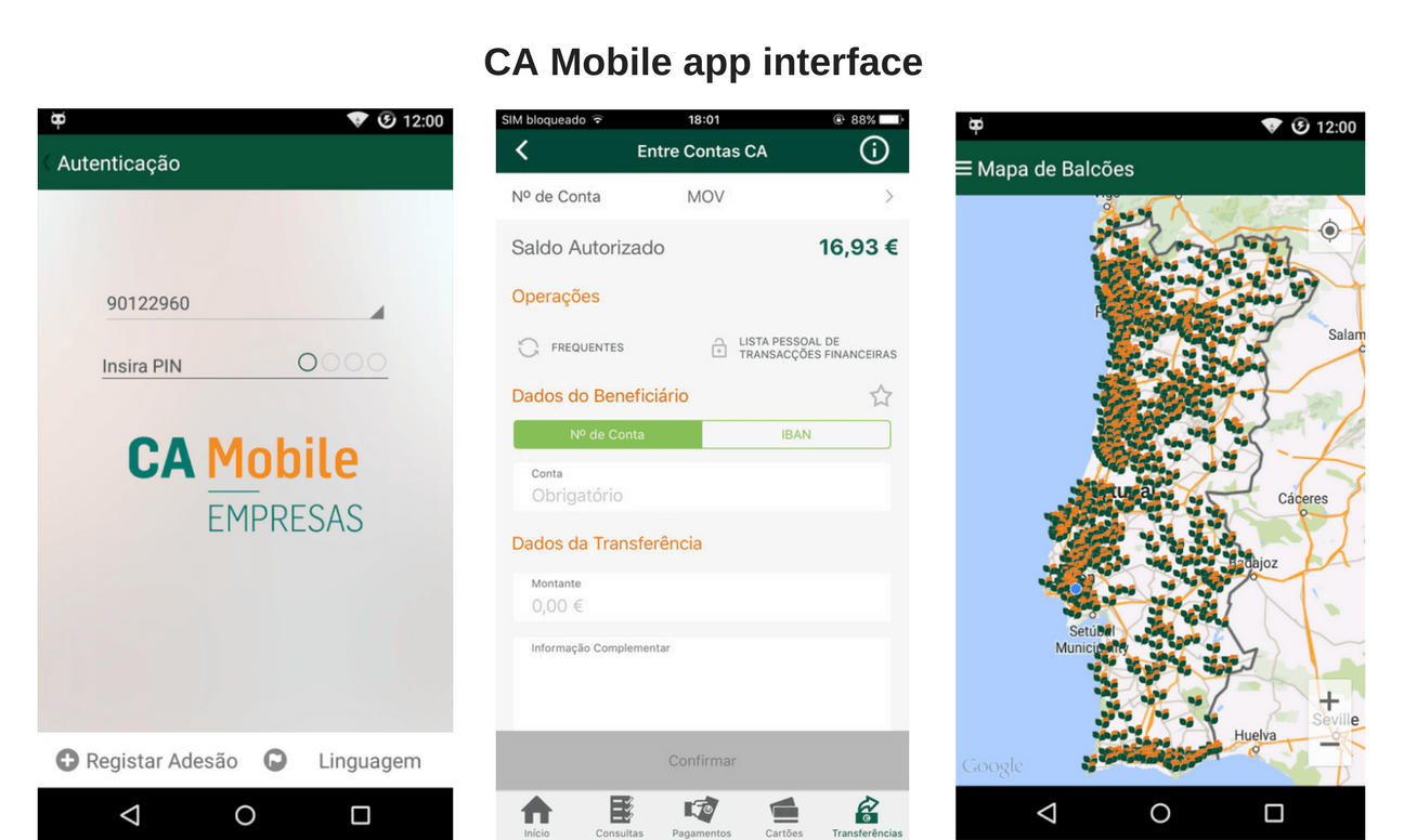 ca mobile app interface