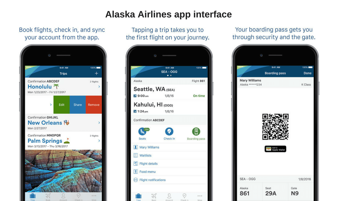 alaska airlines app interface