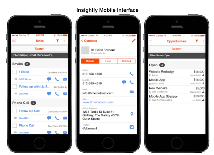 Insightly Mobile Interface