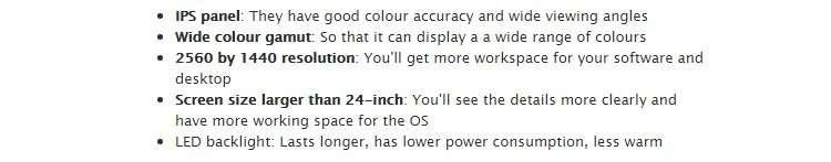 Designer's monitor quality