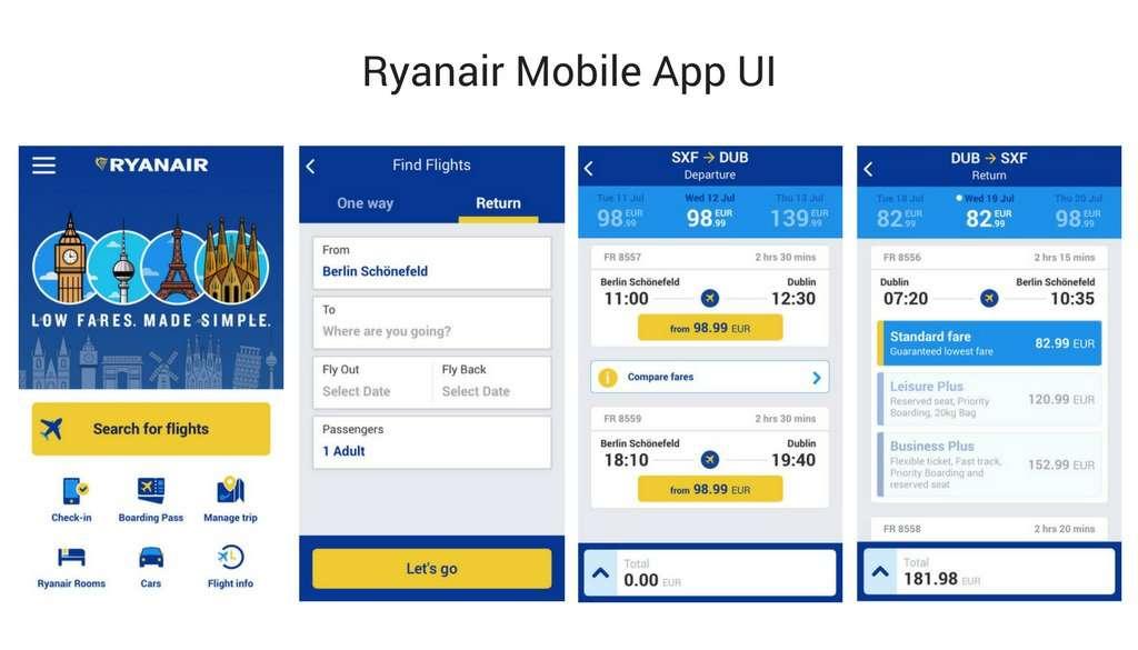 Ryanair Mobile App UI