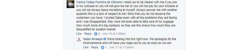 Qatar Airways in Facebook