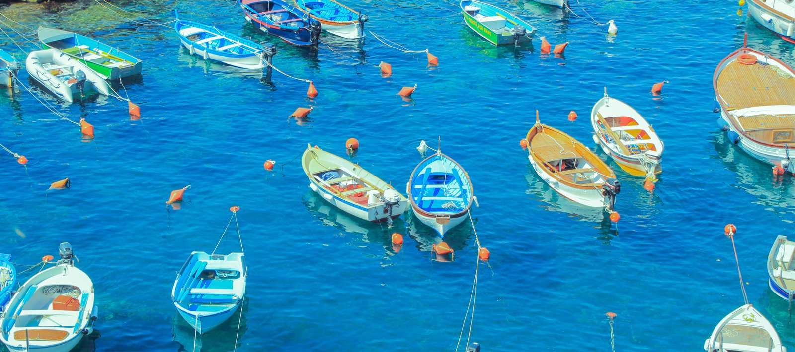 boats of different colors