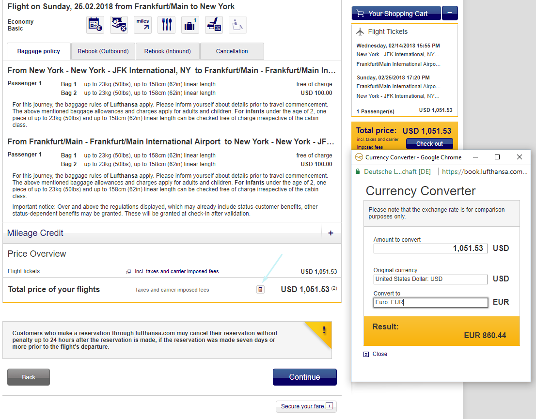 Lufthansa Currency Converter