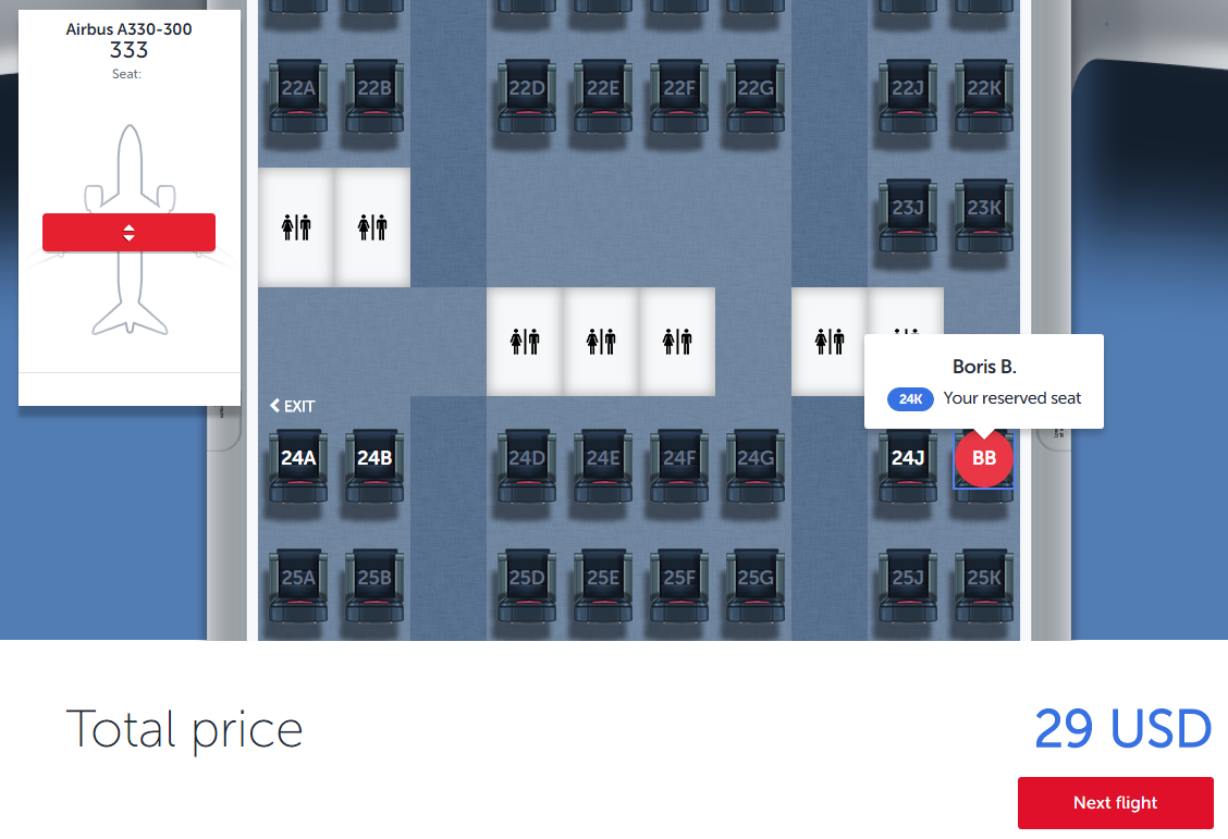 Seat selection at Turkish Airlines