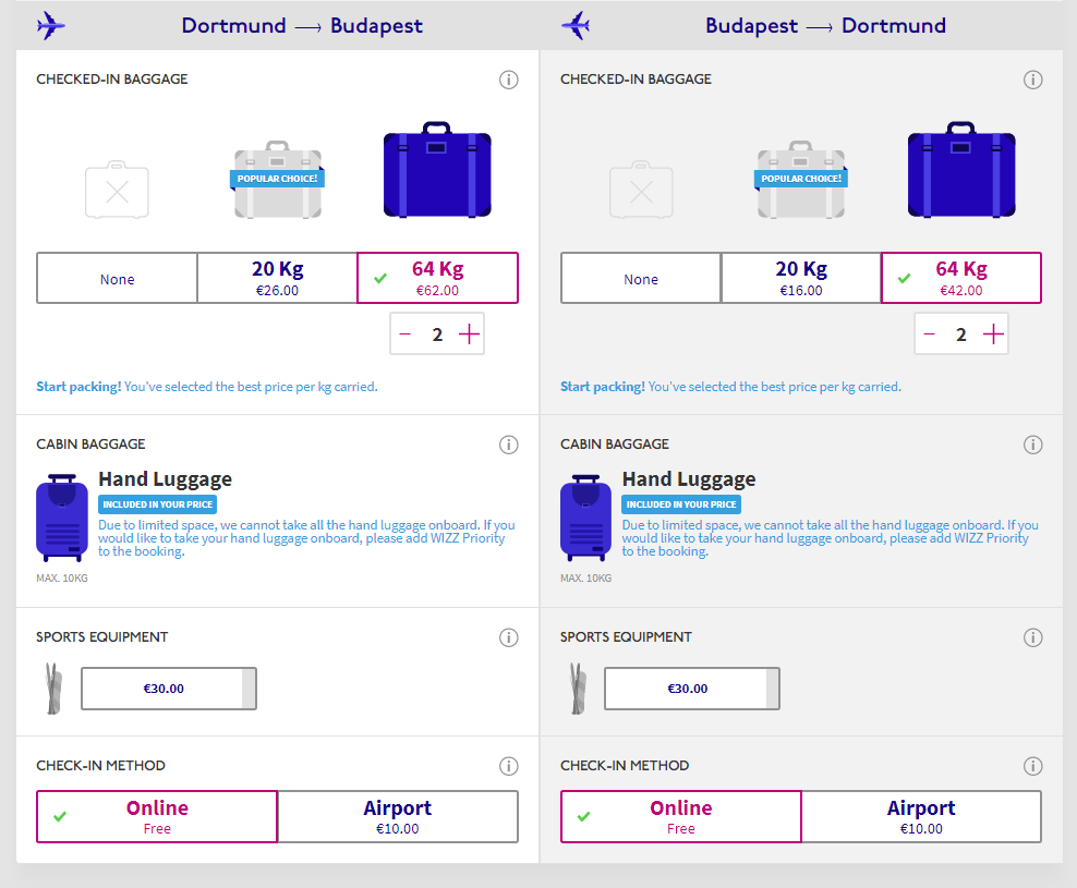 wizz air baggage customization