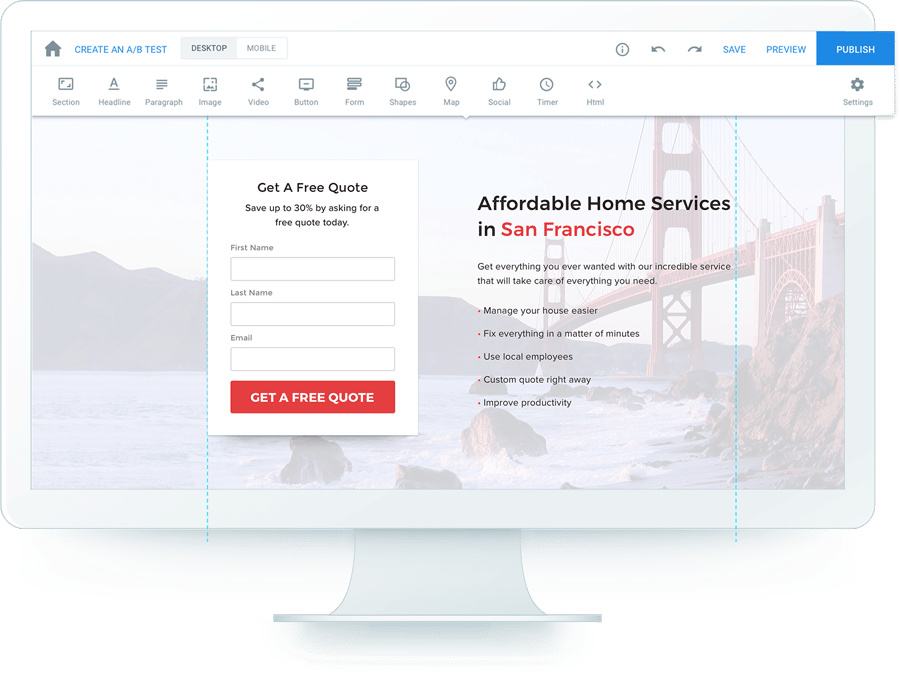 Instapage landing page builder