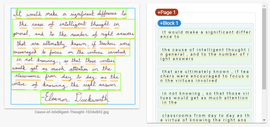 Handwritten text recognition
