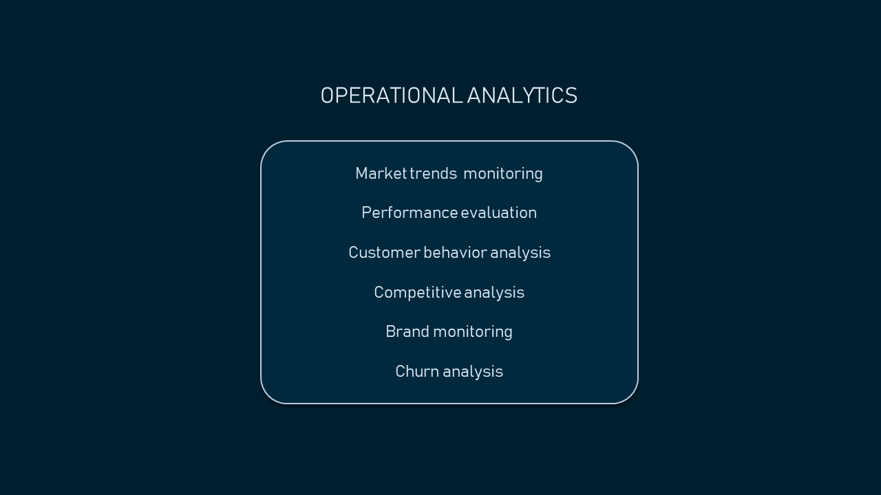 Operational analytics techniques