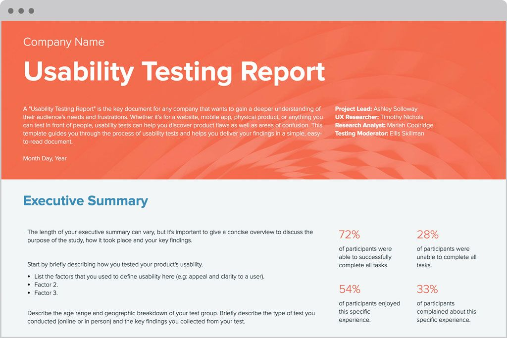 Usability report template