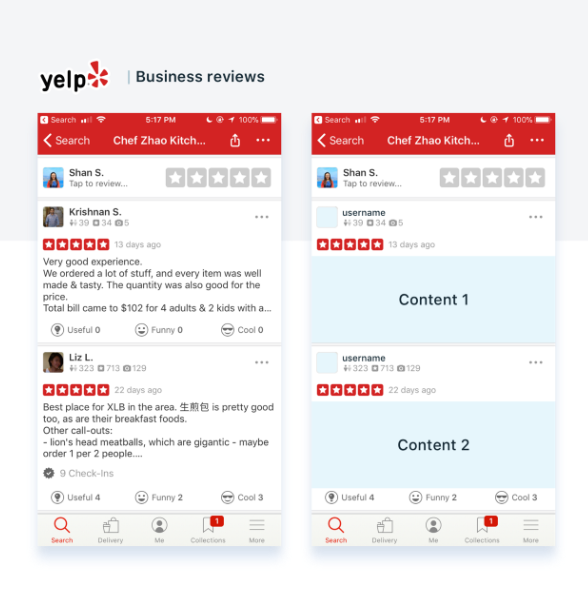 Yelp app reviews