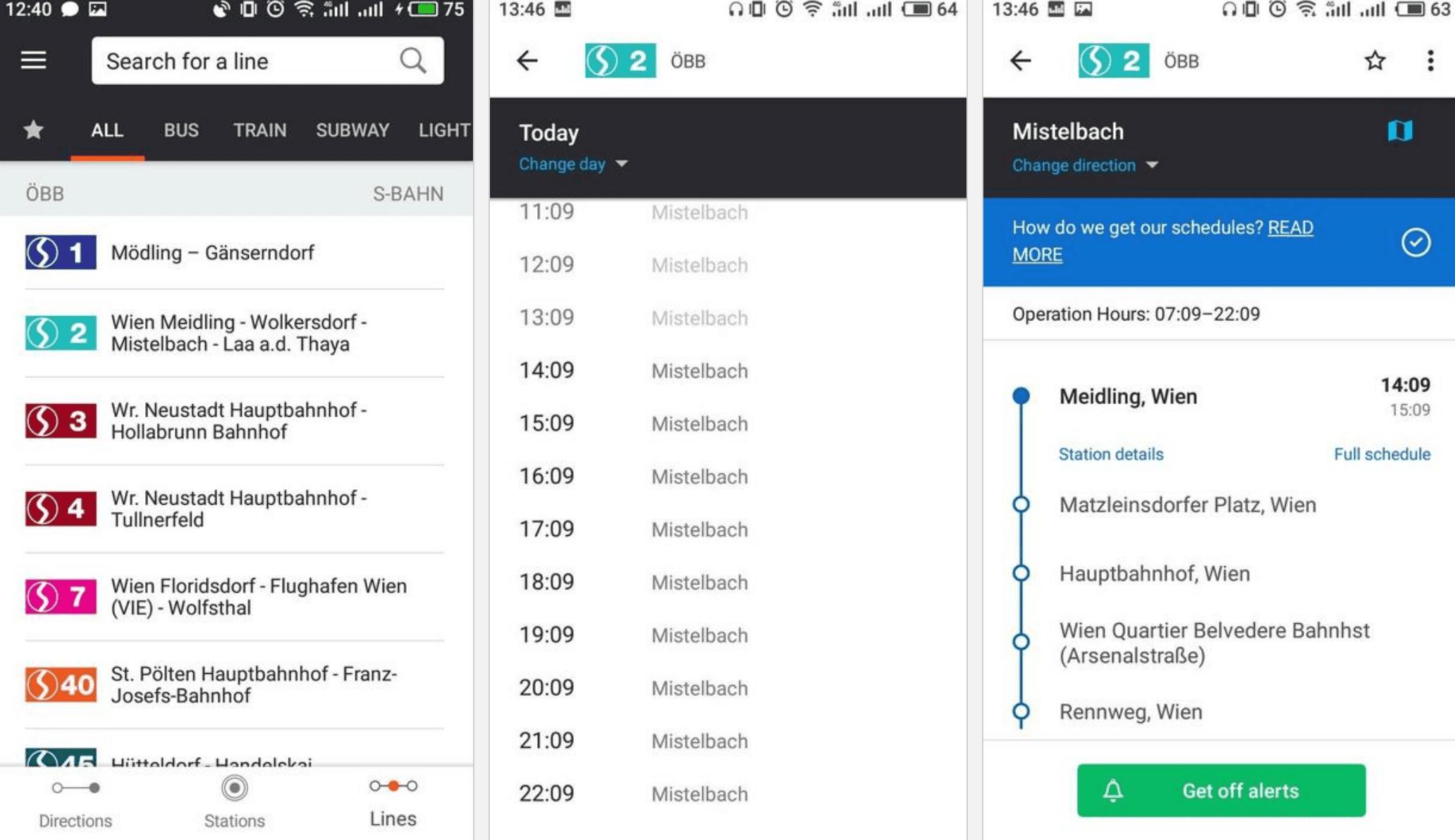 Moovit list of public transportation lines in Vienna