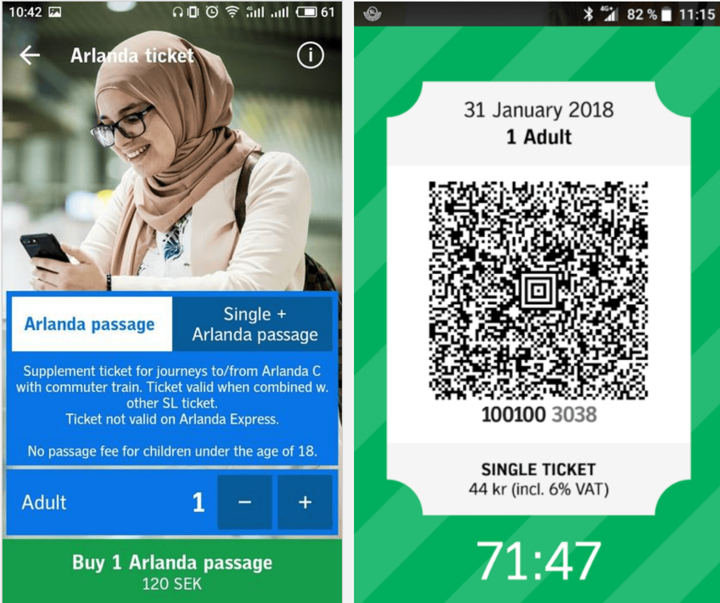 Ticket purchase in Stockholm Lokaltrafik app