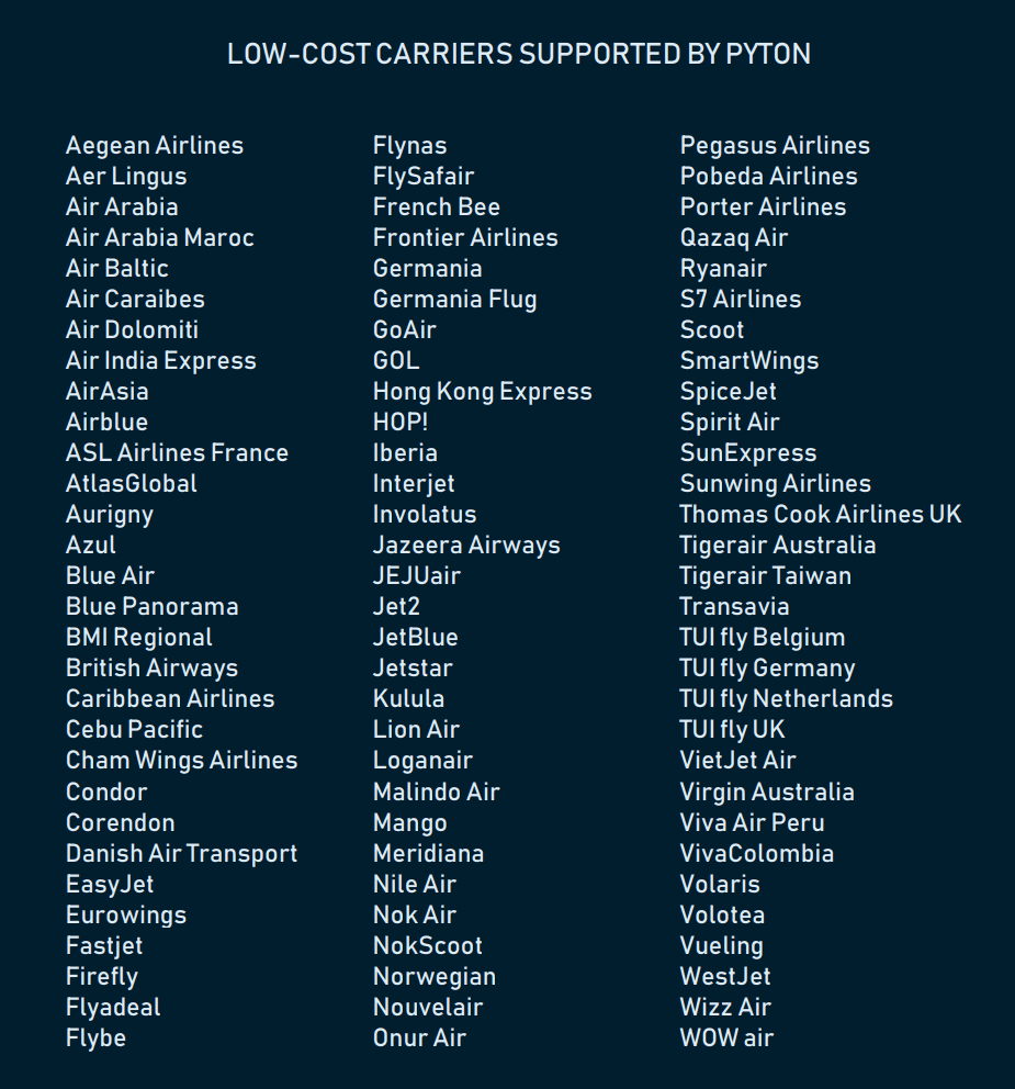 list of low-cost carriers supported by Pyton platform