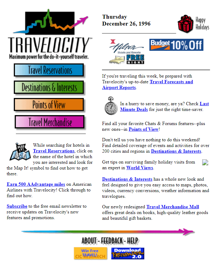 Travelocity web interface in 1996