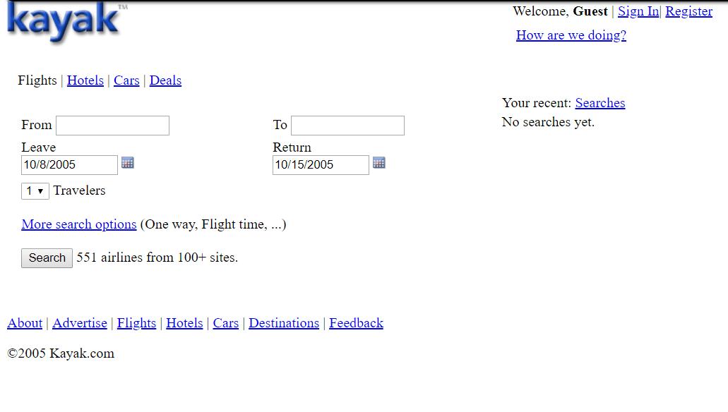 KAYAK interface 2005