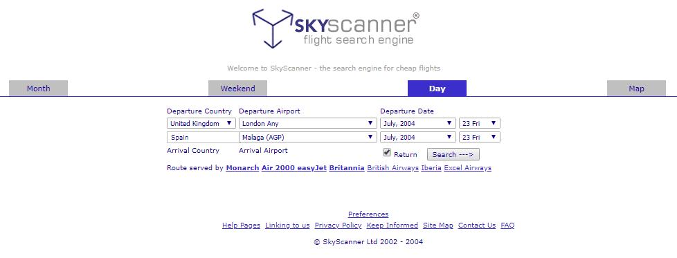 Skyscanner interface 2004