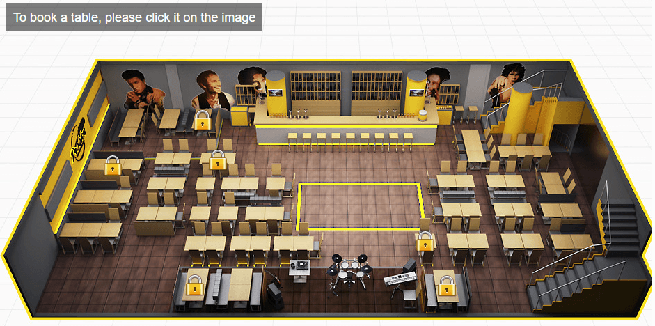 3D interactive restaurant map