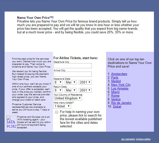 old priceline interface