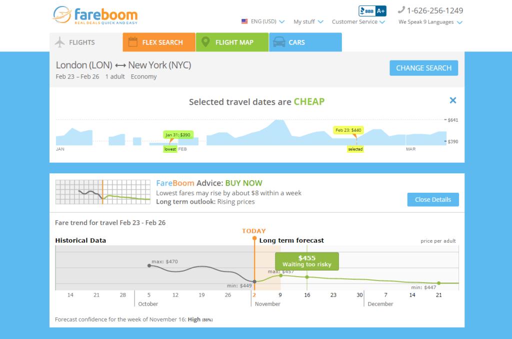 Fareboom Price Predictor, long-term forecast example